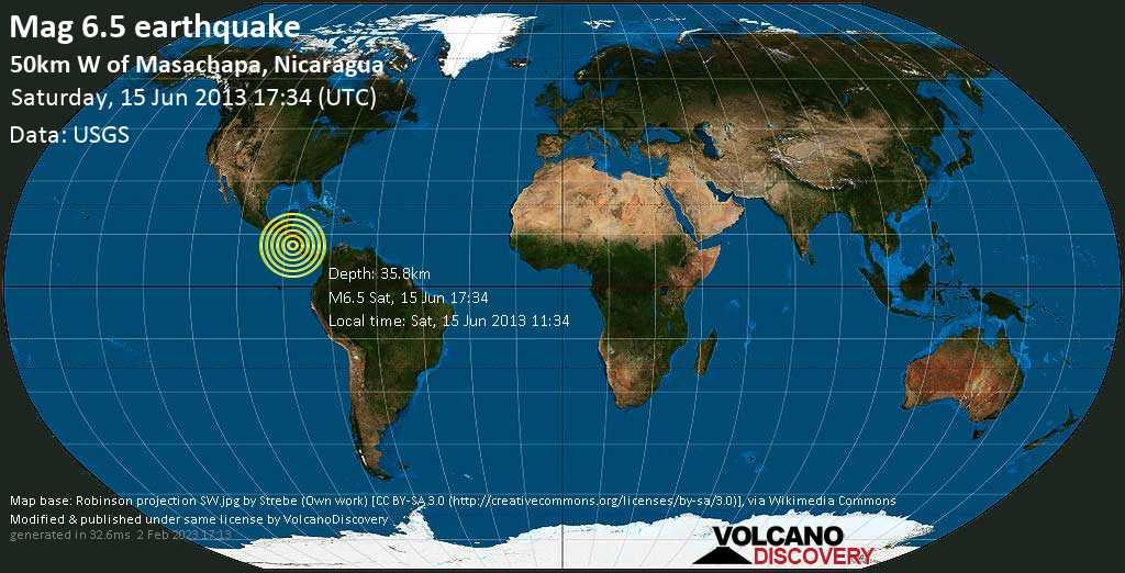 Very strong mag. 6.5 earthquake - North Pacific Ocean, 60 km west of San Rafael del Sur, Nicaragua, on Sat, 15 Jun 2013 11:34