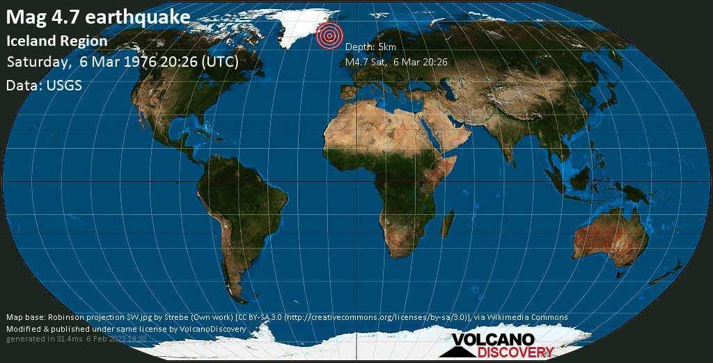 Moderate mag. 4.7 earthquake - 91 km north of Akureyri, Akureyrarkaupstaður, Northeast, Iceland, on Saturday, 6 March 1976 at 20:26 (GMT)