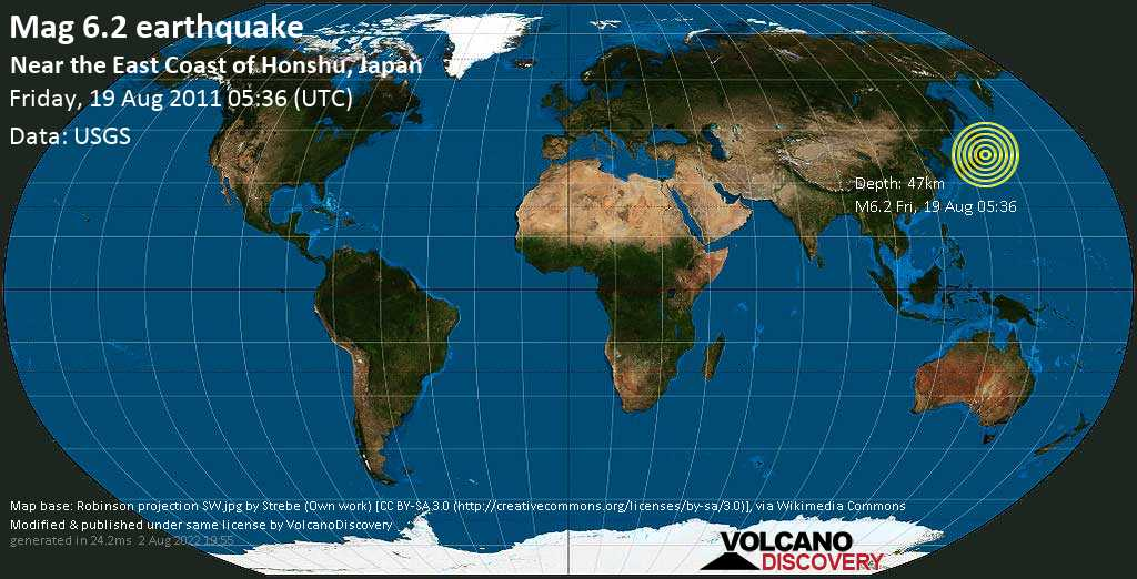 Strong mag. 6.2 earthquake  - Near the East Coast of Honshu, Japan on Friday, 19 August 2011