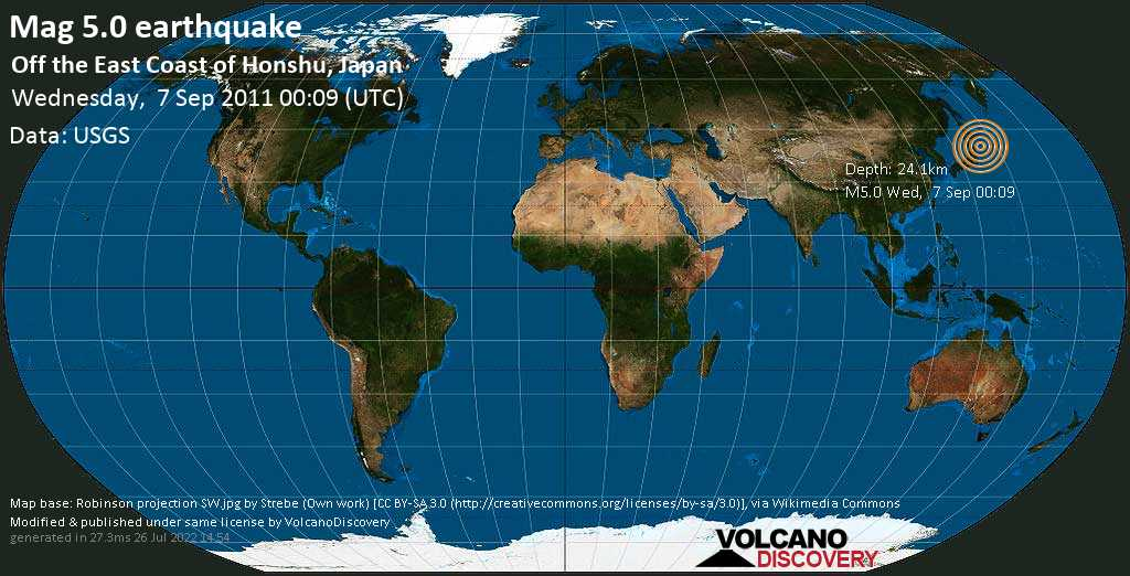 Moderate mag. 5.0 earthquake  - Off the East Coast of Honshu, Japan, on Wednesday, 7 September 2011 at 00:09 (GMT)