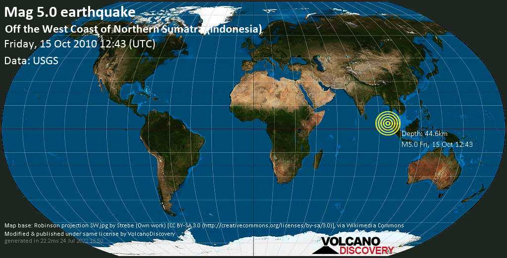 Moderate mag. 5.0 earthquake  - Off the West Coast of Northern Sumatra (Indonesia) on Friday, 15 October 2010 at 12:43 (GMT)