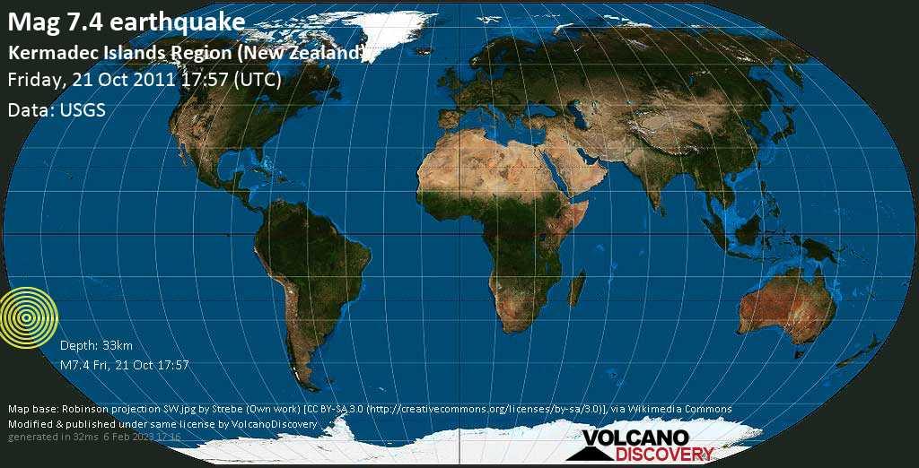 Major mag. 7.4 earthquake  - Kermadec Islands Region (New Zealand) on Friday, 21 October 2011