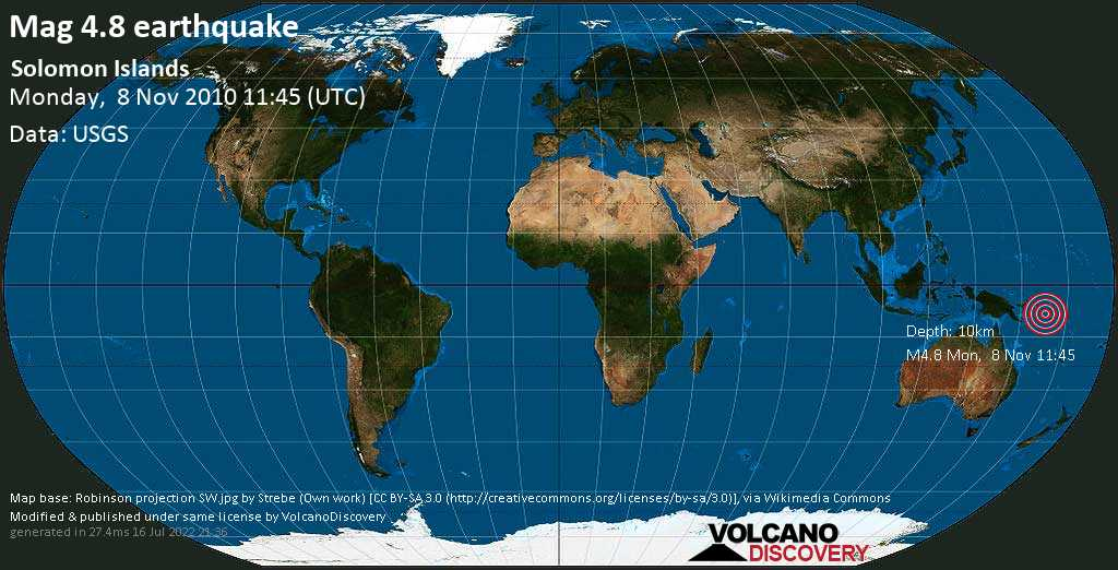 Light mag. 4.8 earthquake  - Solomon Islands on Monday, 8 November 2010