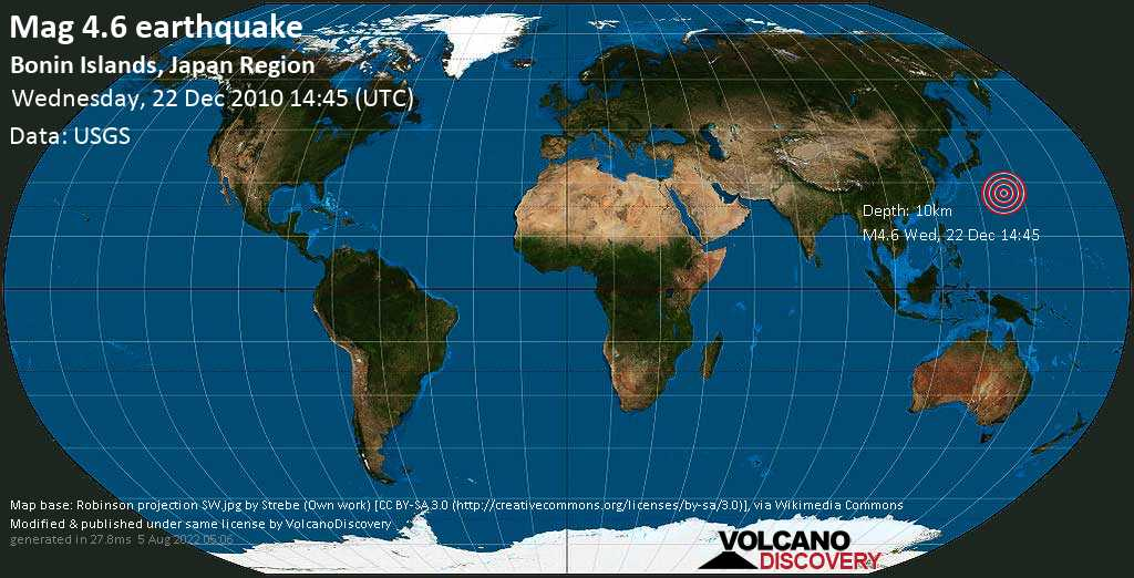 Moderate mag. 4.6 earthquake - North Pacific Ocean, 1029 km south of Tokyo, Japan, on Wednesday, 22 December 2010 at 14:45 (GMT)
