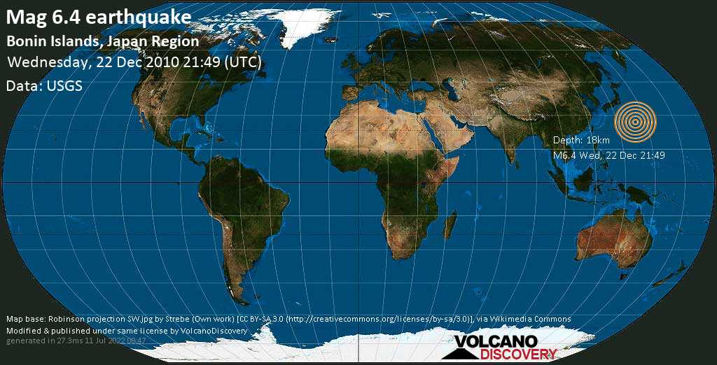 Very strong mag. 6.4 earthquake - North Pacific Ocean, 1055 km south of Tokyo, Japan, on Wednesday, 22 December 2010 at 21:49 (GMT)