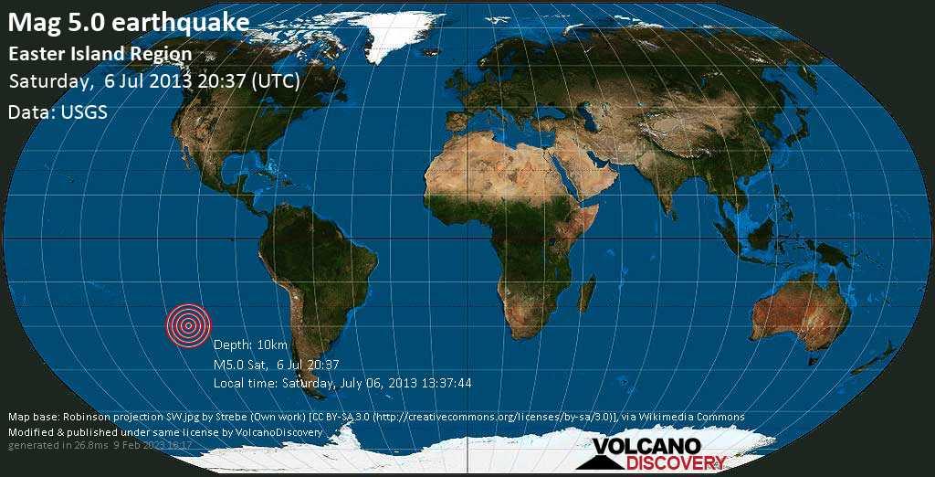 Moderate mag. 5.0 earthquake  - South Pacific Ocean, 3891 km west of Santiago, Provincia de Santiago, Santiago Metropolitan, Chile, on Saturday, July 06, 2013 13:37:44