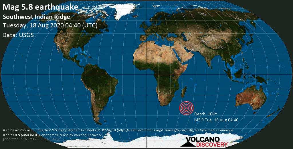Moderate mag. 5.8 earthquake  - Southwest Indian Ridge on Tuesday, 18 August 2020