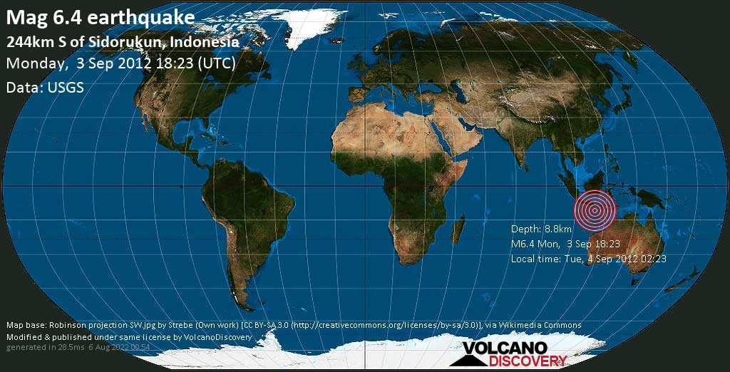 Strong mag. 6.4 earthquake  - 244km S of Sidorukun, Indonesia, on Tue, 4 Sep 2012 02:23