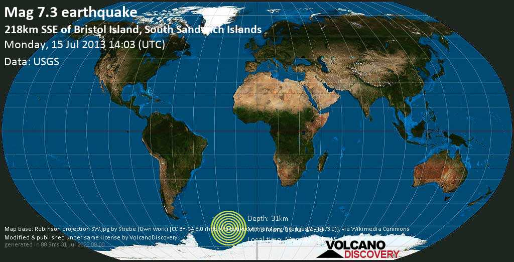 Major magnitude. 7.3 earthquake  - South Atlantic Ocean, South Georgia & South Sandwich Islands, on Monday, July 15, 2013 12:03:43