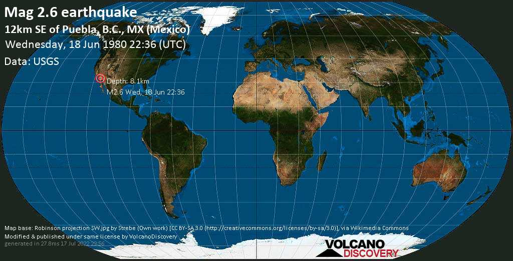 Mag. 2.6 earthquake  - 12km SE of Puebla, B.C., MX (Mexico), on Wednesday, 18 June 1980 at 22:36 (GMT)