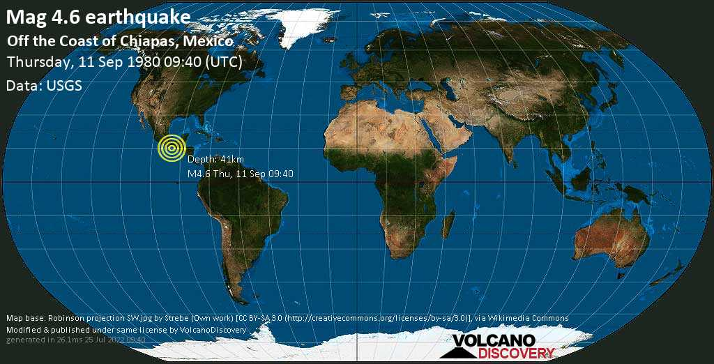 Mag. 4.6 earthquake  - Off the Coast of Chiapas, Mexico, on Thursday, 11 September 1980 at 09:40 (GMT)