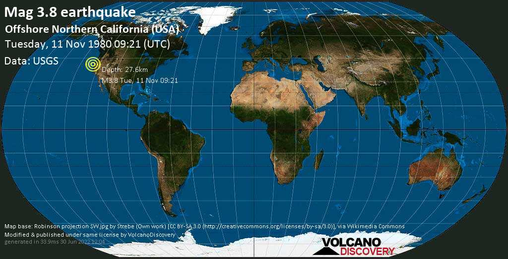 Mag. 3.8 earthquake  - Offshore Northern California (USA) on Tuesday, 11 November 1980 at 09:21 (GMT)