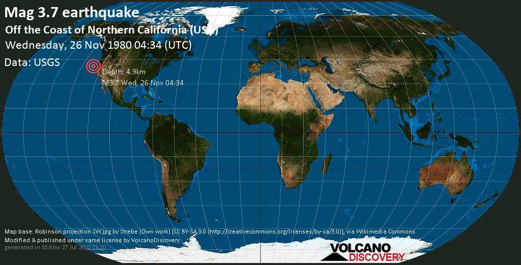 Mag. 3.7 earthquake  - Off the Coast of Northern California (USA) on Wednesday, 26 November 1980 at 04:34 (GMT)