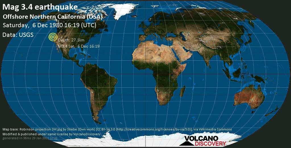 Debile terremoto magnitudine 3.4 - Offshore Northern California (USA), sabato, 06 dicembre 1980