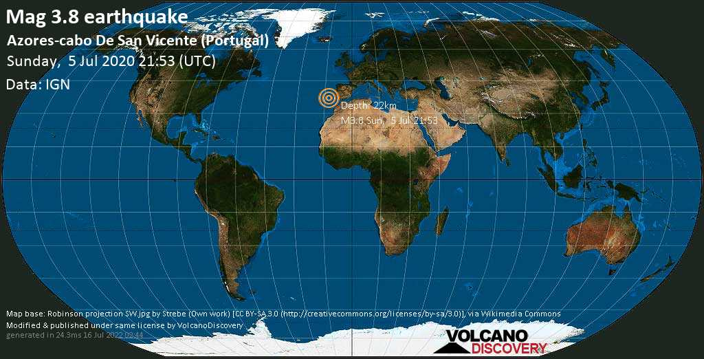 Mag. 3.8 earthquake  - 390 km southwest of Lisbon, Lisboa, Portugal, on Sunday, 5 July 2020 at 21:53 (GMT)
