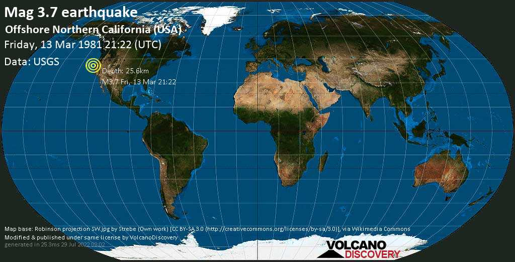 Mag. 3.7 earthquake  - Offshore Northern California (USA) on Friday, 13 March 1981 at 21:22 (GMT)