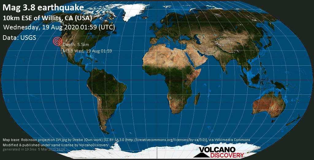 Terremoto moderato mag. 3.8 - 10.1 km a sud-est da Willits, Contea di Mendocino County, Contea di Kern, Stati Uniti, mercoledí, 19 agosto 2020