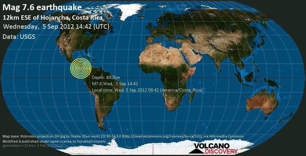 Major mag. 7.6 earthquake  - 12km ESE of Hojancha, Costa Rica, on Wed, 5 Sep 2012 08:42 (America/Costa_Rica)