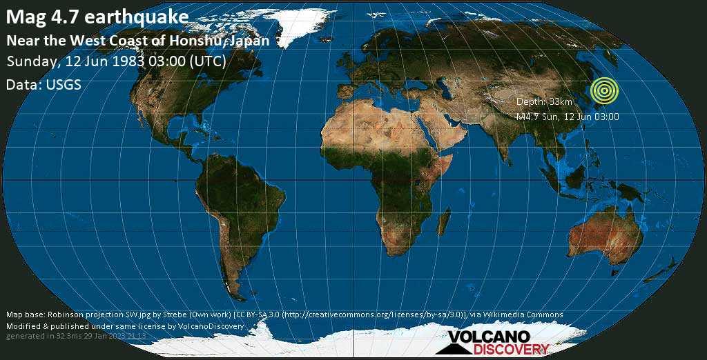 Moderate mag. 4.7 earthquake - Japan Sea, 87 km west of Noshiro, Akita, Japan, on Sunday, 12 June 1983 at 03:00 (GMT)
