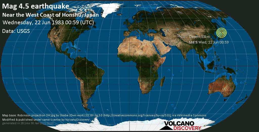 Moderate mag. 4.5 earthquake - Japan Sea, 90 km northwest of Noshiro, Akita, Japan, on Wednesday, 22 June 1983 at 00:59 (GMT)