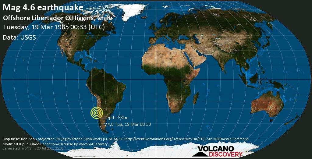 Moderate mag. 4.6 earthquake - South Pacific Ocean, 67 km southwest of San Antonio, Valparaiso, Chile, on Tuesday, 19 March 1985 at 00:33 (GMT)