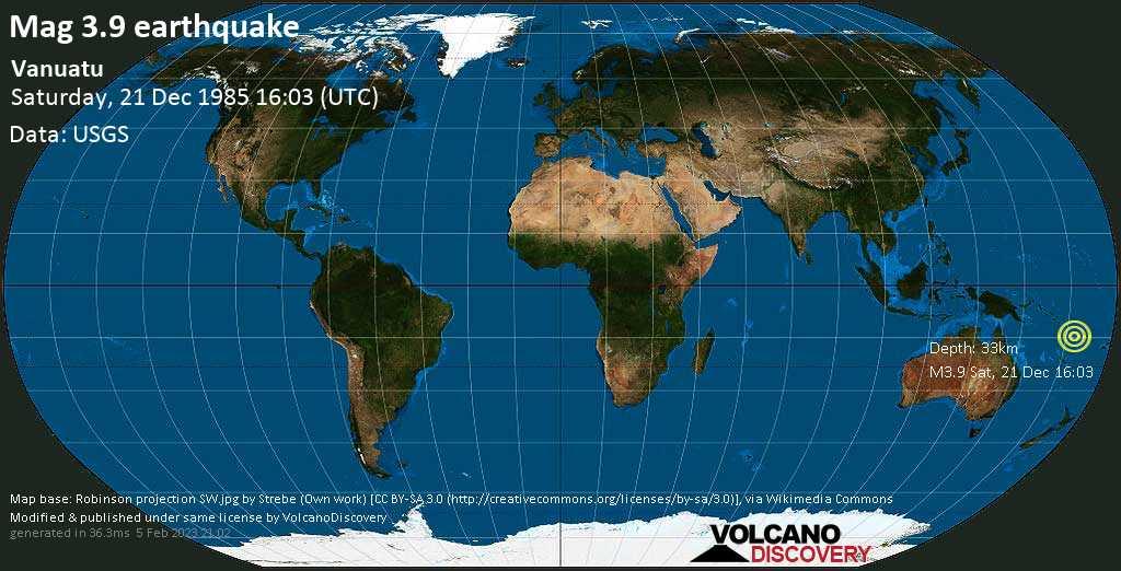 Light mag. 3.9 earthquake - Coral Sea, 99 km northwest of Port-Olry, Sanma Province, Vanuatu, on Saturday, 21 December 1985 at 16:03 (GMT)