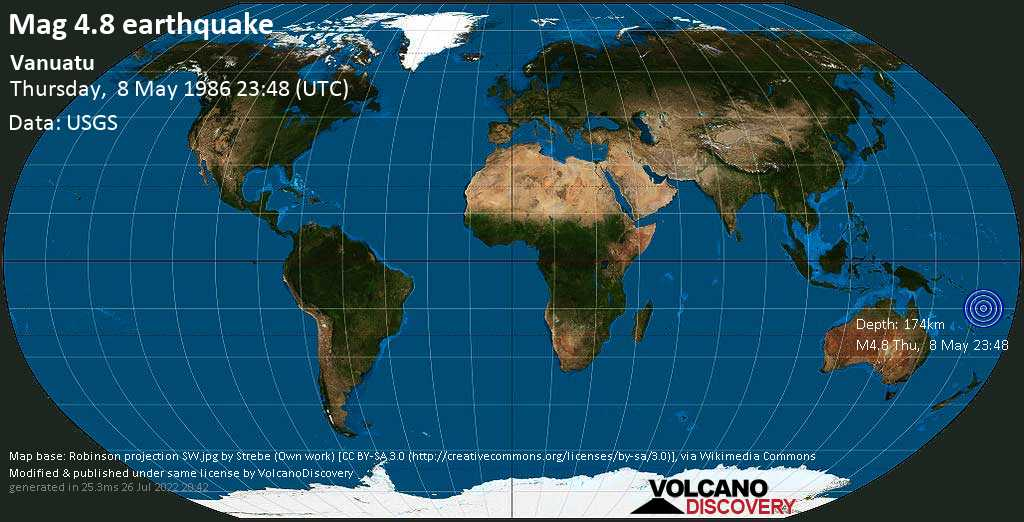 Light mag. 4.8 earthquake - Coral Sea, 97 km north of Luganville, Sanma Province, Vanuatu, on Thursday, 8 May 1986 at 23:48 (GMT)