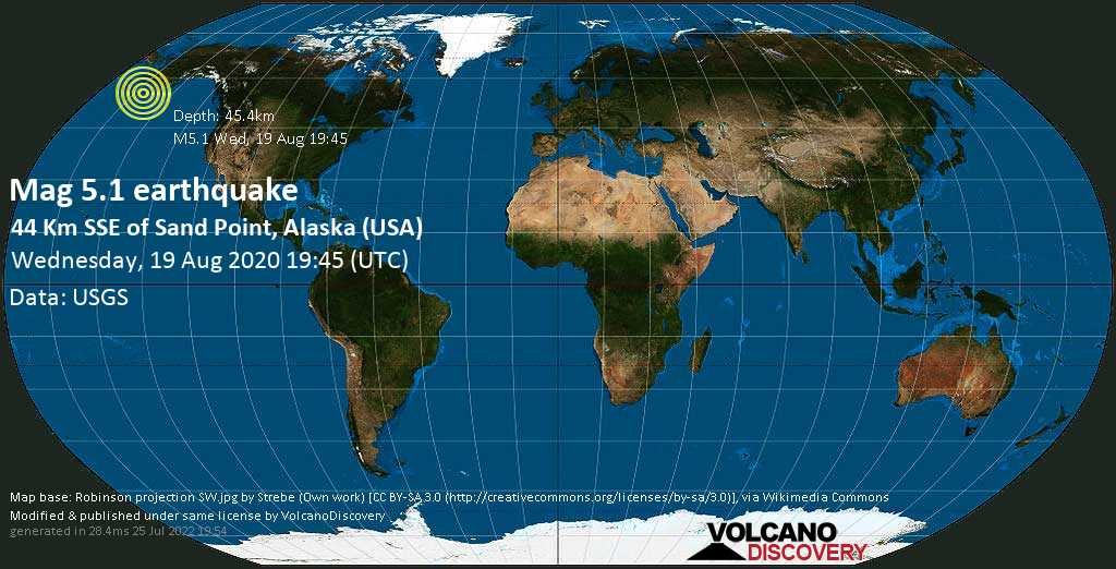 Moderate mag. 5.1 earthquake  - Gulf of Alaska, 28 mi south of Sand Point, Aleutians East County, Alaska, USA, on Wednesday, 19 August 2020 at 19:45 (GMT)