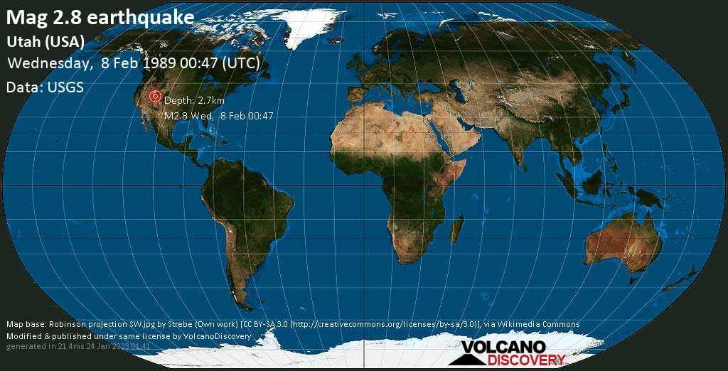 Light mag. 2.8 earthquake - Emery County, 26 mi south of Ephraim, Sanpete County, Utah, USA, on Wednesday, 8 February 1989 at 00:47 (GMT)