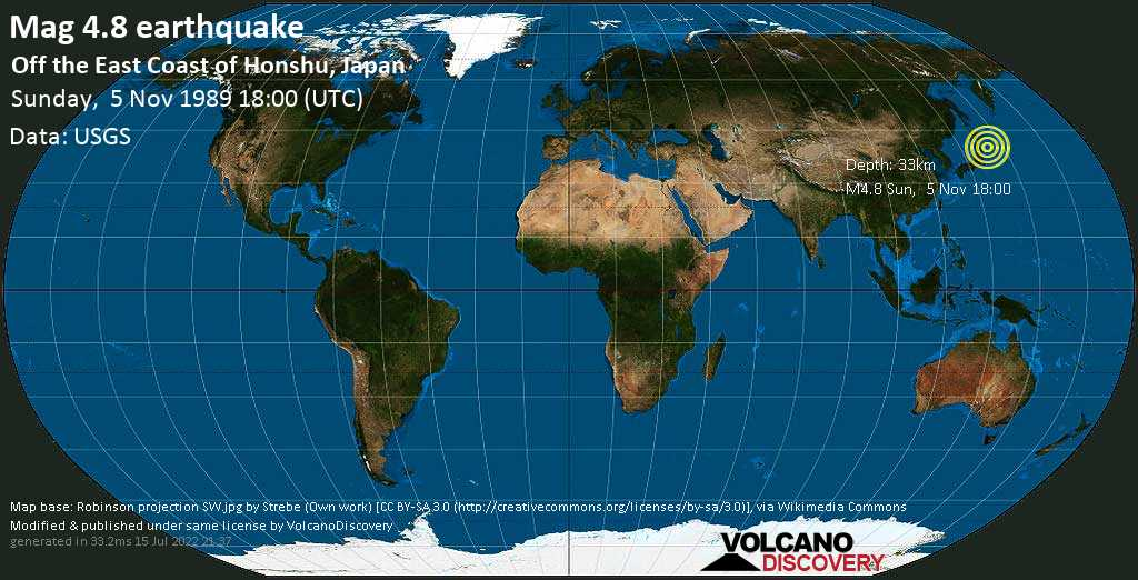 Moderate mag. 4.8 earthquake - North Pacific Ocean, 132 km east of Miyako, Iwate, Japan, on Sunday, 5 November 1989 at 18:00 (GMT)