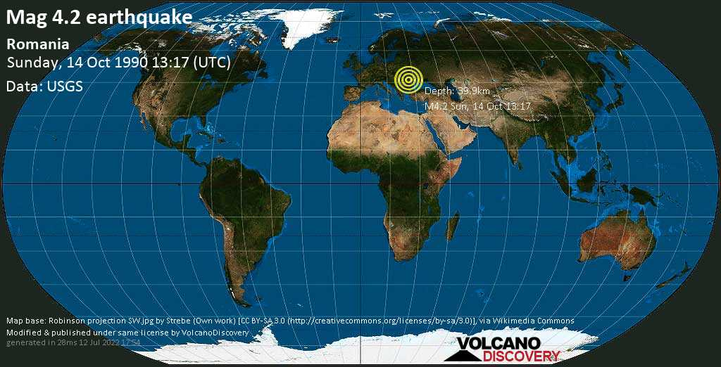 Mag. 4.2 earthquake  - Romania on Sunday, 14 October 1990 at 13:17 (GMT)