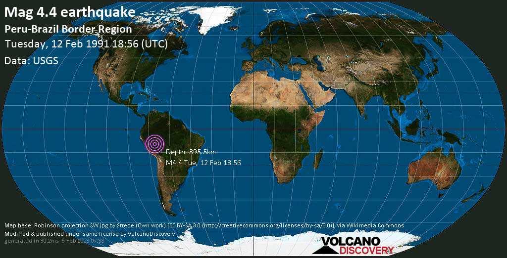 Mag. 4.4 earthquake  - Peru-Brazil Border Region on Tuesday, 12 February 1991 at 18:56 (GMT)