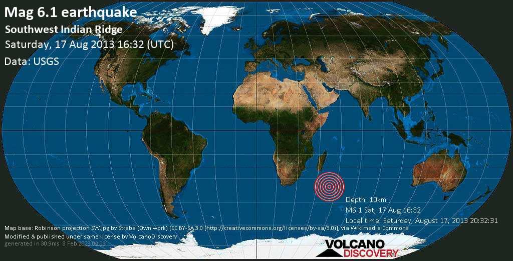 Forte terremoto magnitudine 6.1 - Indian Ocean, sabato, 17 agosto 2013