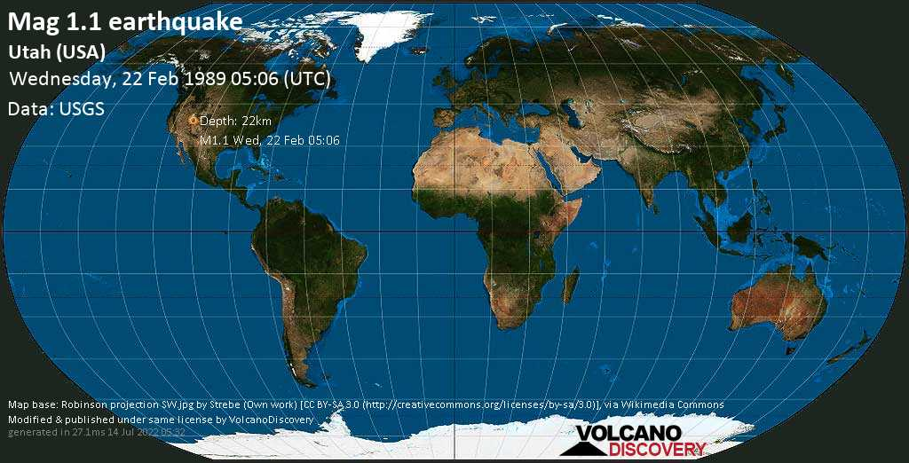 Minor mag. 1.1 earthquake - Utah (USA) on Wednesday, 22 February 1989 at 05:06 (GMT)