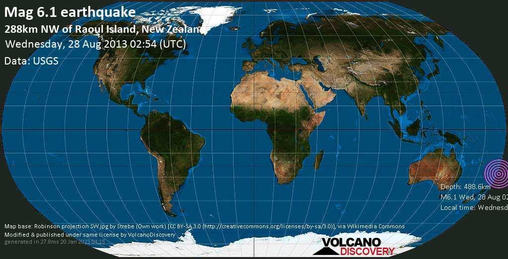 Forte terremoto magnitudine 6.1 - South Pacific Ocean, mercoledì, 28 agosto 2013