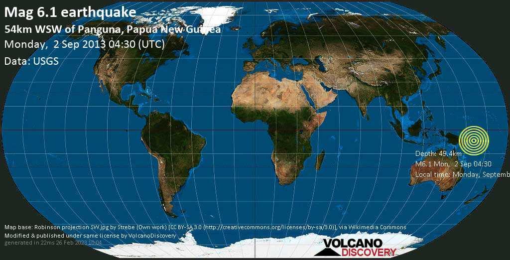 Forte terremoto magnitudine 6.1 - Solomon Sea, 35 km a sud da Torokina Islet , North Solomons, Papua Nuova Guinea, lunedì, 02 settembre 2013