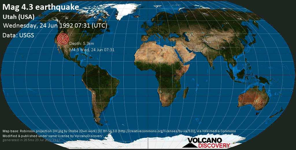 Moderate mag. 4.3 earthquake - 29 mi east of Richfield, Sevier County, Utah, USA, on Wednesday, 24 June 1992 at 07:31 (GMT)