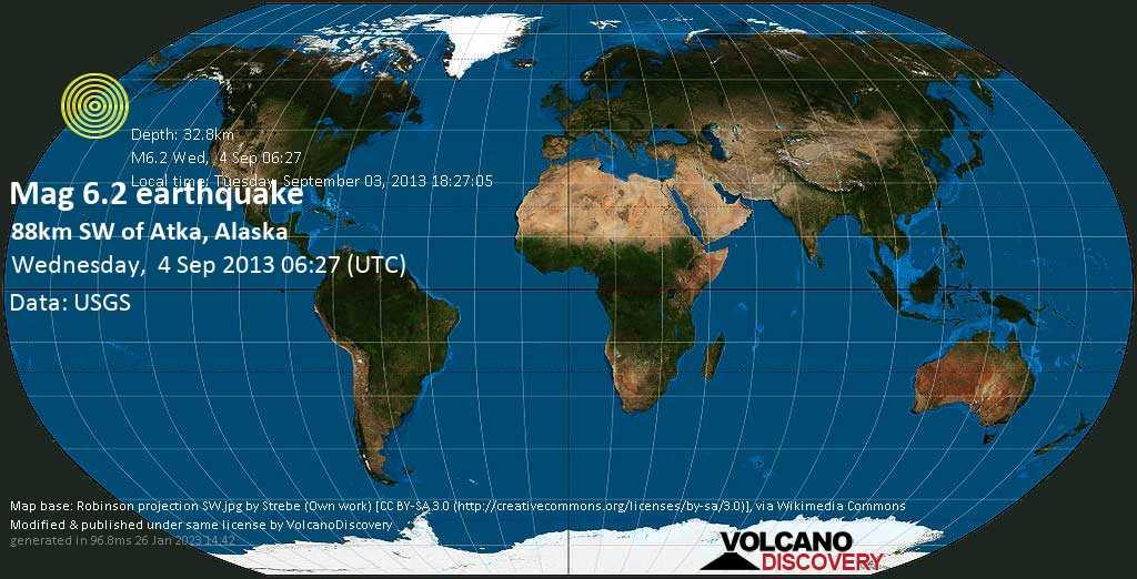 Strong mag. 6.2 earthquake - Bering Sea, 35 mi southeast of Oglodak Island, Aleutians West County, Alaska, USA, on Tuesday, September 03, 2013 18:27:05