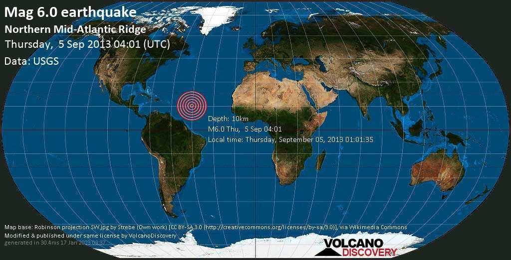 Forte terremoto magnitudine 6.0 - North Atlantic Ocean, giovedì, 05 settembre 2013