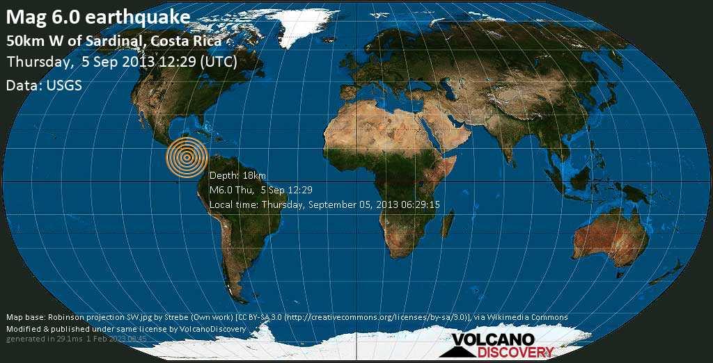 Forte terremoto magnitudine 6.0 - North Pacific Ocean, 68 km a nord ovest da Santa Cruz, Costa Rica, giovedì, 05 settembre 2013