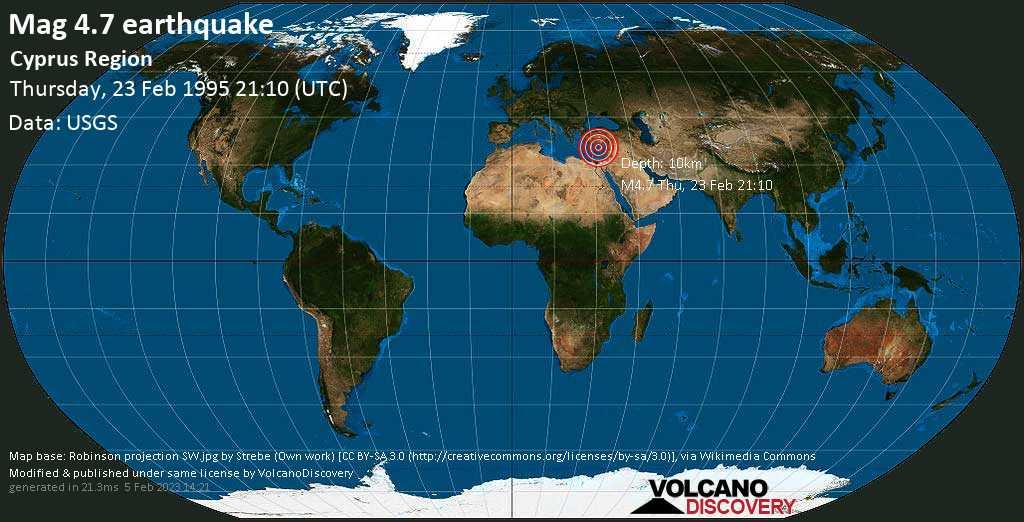 Moderate mag. 4.7 earthquake - Eastern Mediterranean, 5.4 km north of Agios Georgios Island, Pafos, Cyprus, on Thursday, 23 February 1995 at 21:10 (GMT)