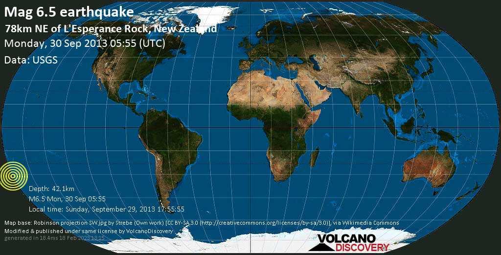 Forte terremoto magnitudine 6.5 - South Pacific Ocean, 1310 km a nord est da Wellington, Nuova Zelanda, lunedì, 30 settembre 2013