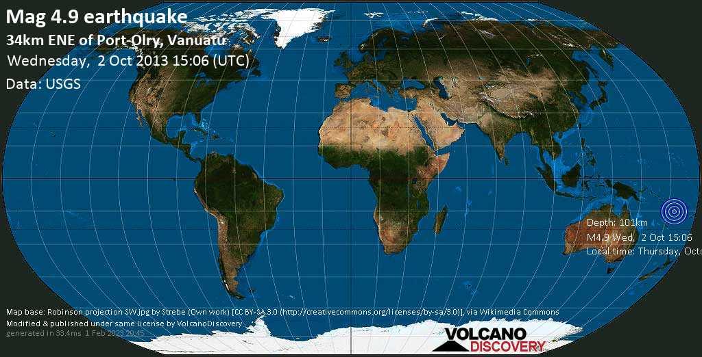 Light mag. 4.9 earthquake - Coral Sea, 32 km east of Port-Olry, Sanma Province, Vanuatu, on Thursday, October 03, 2013 02:06:48