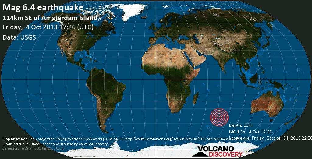 Starkes Erdbeben der Stärke 6.4 - 114km SE of Amsterdam Island,, am Freitag,  4. Okt 2013 um 17:26 GMT
