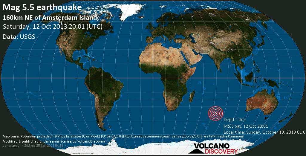 Moderates Erdbeben der Stärke 5.5 - 160km NE of Amsterdam Island, am Samstag, 12. Okt. 2013
