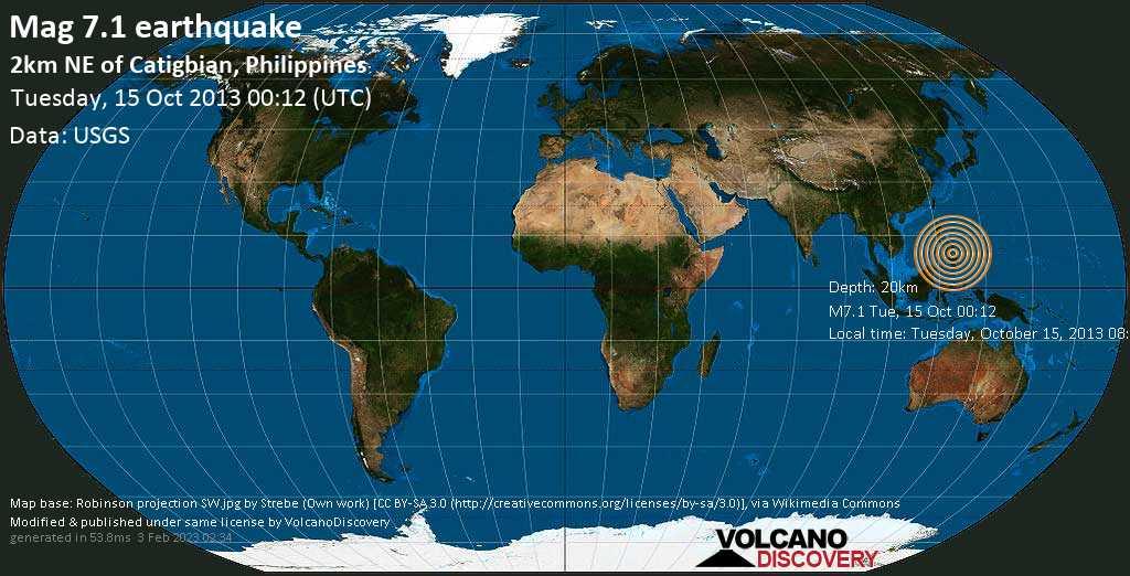 Major magnitude 7.1 earthquake - 10.9 km southeast of Tibigan, Bohol, Central Visayas, Philippines, on Tuesday, October 15, 2013 08:12:32