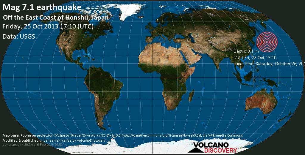 Major mag. 7.1 earthquake  - Off the East Coast of Honshu, Japan, on Saturday, October 26, 2013 03:10:15