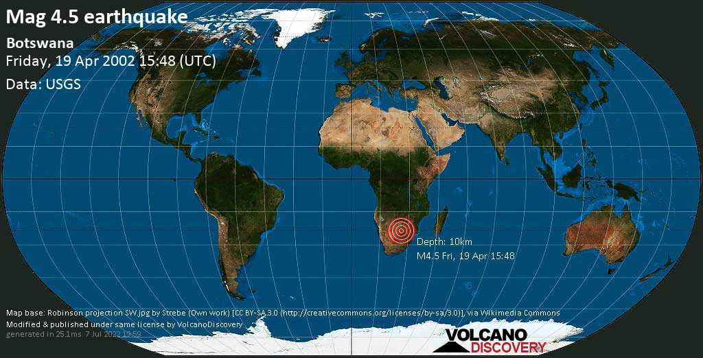 Moderate mag. 4.5 earthquake - 75 km west of Mahalapye, Central, Botswana, on Friday, 19 April 2002 at 15:48 (GMT)