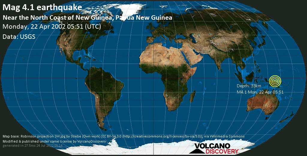 Light mag. 4.1 earthquake - Bismarck Sea, 52 km east of Aitape, Sandaun, Papua New Guinea, on Monday, 22 April 2002 at 05:51 (GMT)