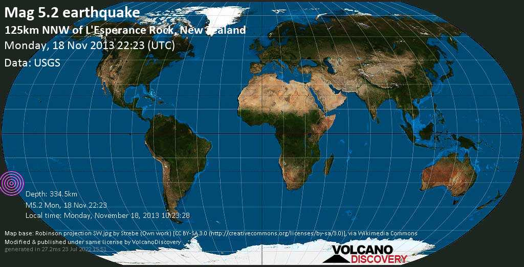 Moderate mag. 5.2 earthquake  - South Pacific Ocean, 1312 km northeast of Wellington, New Zealand, on Monday, November 18, 2013 10:23:28